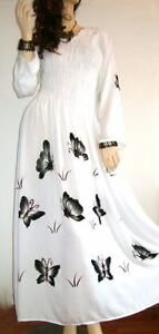 New Hand Painted Buttersoft  Long White Black Butterfly Dress 12 14 16 18 20