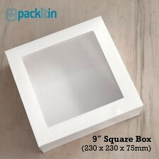 "9"" SQUARE WHITE WINDOW LID BOXES - 10 PACK - clothing food cakes - 230x230x75mm"