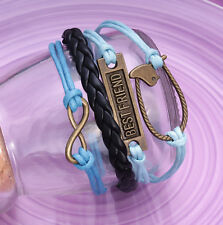 Handmade Infinity Vintage Friendship Blue Best Friend Leather Bracelet For Women