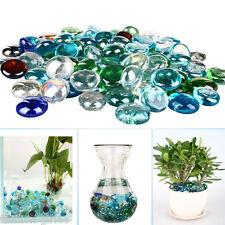 3X Colorized Shining Round Pebbles Flat Glass Beads Bright Flowerpot Decoration