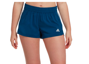 New Women's Adidas Pacer 3-Stripes Woven Shorts Sz XL Legend Marine/White