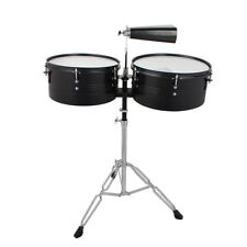 """New Black 13"""" 14"""" Timbales Drum Set Percussion with Stand Cowbell"""