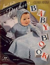 Beehive 143 Baby Toddler Knitting Crochet Patterns Dress Bootees Romper Cap 1950