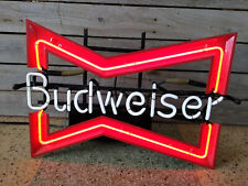 Vintage 1980s Budweiser Bow Tie Neon Beer Bar Window Sign