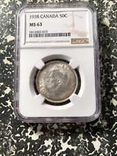 1938 Canada 50 Cent NGC MS63 Lot#G418 Silver! Key Date! Choice UNC!