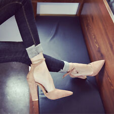 New Women Pointed Toe High Heel Strappy Classic Thick Block Heel Shoes Summer