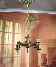 Antique Vintage Chandelier Brass 4 Light Pan Fully Polished and Rewired