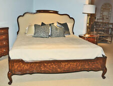 New Stunning French Louis XV Style Carved Mahogany Flame Figured King Size Bed