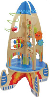 Wooden Rocket with Colourful Beads, Cogs & Gears to Push & Pull