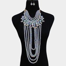 Luxe Raro declaración Oro AB vestido largo con cuentas Collar estilo Babero Cóctel Set rocas Boutique
