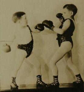 1920's Rubin & Cherry Lilliputian Midget Circus Show Boxers RPPC Photo Carnival