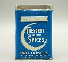 Antique Crescent Spice Tin Litho RARE Can ~ Seattle, WA Grocery Moon Advertising