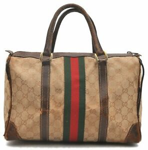Authentic GUCCI Sherry Line Hand Bag GG Canvas Leather Beige Brown B1882