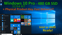New 480GB SSD 2.5 SATA 6.0Gbps With Active Windows 10 Pro 32/64 Bit+Product Key