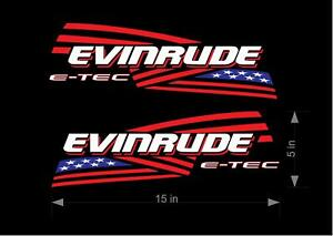 2 pack Evinrude outboard Red White and Blue American Flag decals graphics.