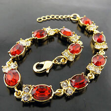 FSA572 GENUINE REAL 18K YELLOW G/F GOLD RUBY BEAD LINK CHARM BRACELET BANGLE