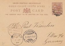 GOLD COAST :1894 PENNY HALFPENNY  postal stationery card  used to Germany-PACKET