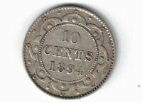 NEWFOUNDLAND 1894 10 CENTS DIME QUEEN VICTORIA CANADIAN STERLING SILVER COIN