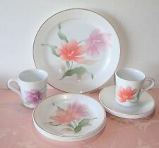 Corelle PACIFICA 11 Pcs Plates Cups Saucers Orange Purple Flowers Brown Line