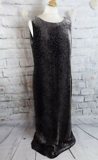 "BNWT WINDSMOOR mink grey maxi dress 14 long bust 42"" devore velvet silk beaded"