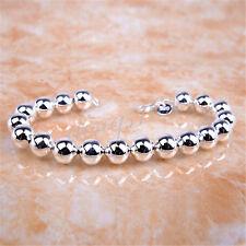 18K White Gold Filled #TARNISH-FREE# 8 inch 10mm Bead Ball Chain Bracelet H019