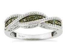 Sterling Silver Green Diamond Ring .925 Diamond Twist Band .10ct Size 7