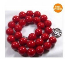 """14MM Big round Red coral Necklace 18"""""""