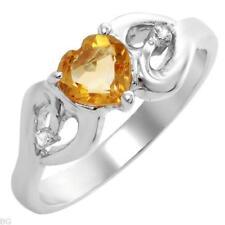 GENUINE DIAMOND & CITRINE HEART RING IN 925 STERLING SILVER 6