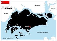 SINGAPORE MAP & FLAG - SOUVENIR  FRIDGE MAGNET -  BRAND NEW - GIFT