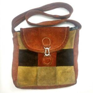 Unbranded Brown Patchwork Leather Suede Hobo Hippie Shoulder Bag Purse Boho