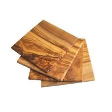 OLIVE WOOD SQUARE DRINKS COASTERS SET OF 4 (OL310)