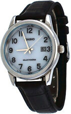 Casio Men's Analog Solar Power Stainless Steel Black Leather Watch MTPVS01L-7B1
