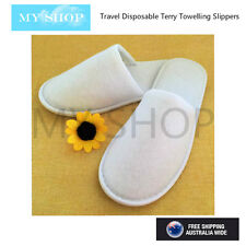 10 Pair Travel Disposable Terry Towelling Slippers Guest  Hotel Spa --Closed Toe