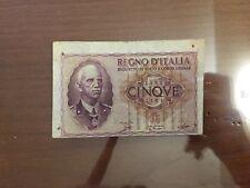 BANCONOTA 5 LIRE IMPERO VITTORIO EMANUELE III 1940 ERRORE STAMPA SABAUDA