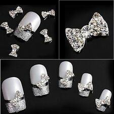 3D Clear Rhinestone Nail Art Bows Crystal Gems FREE P&P UK STOCK