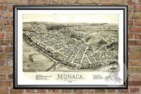 Old Map of Monaca, PA from 1900 - Vintage Pennsylvania Art, Historic Decor