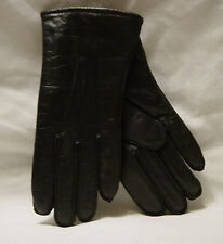 New Old Stock Gov't. Issue Unisex BLACK LEATHER GLOVES W/ WOOL LINER  SIZE 8