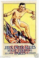 POSTCARD FRENCH 1919 INTER-ALLIES GAMES WWI SPORTS PROPAGANDA