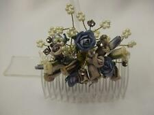 Blue Rose, Pearl & Crystal Hair Comb ~ Wedding ~ Fascinator ~ Prom #T67