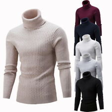 Fashion Mens Turtleneck Sweater Pullover Tops Long Sleeve Slim Knitted Sweater
