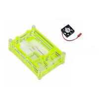 9L Green Acrylic Case Shell Enclosure Box Cooling Fan For Raspberry Pi 3 Model B