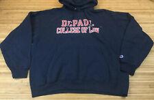 Vintage Champion Depaul Blue Demons Law Hoodie Sweatshirt 2XL XXL