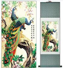 "peacock silk painting Chinese traditional silk art painting flower paint12""x40"""