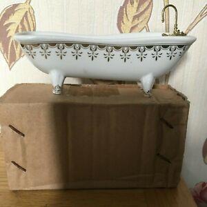 The Dolls House Emporium Ceramic Gold Fleur Roll Top Bath With Bath Taps - New