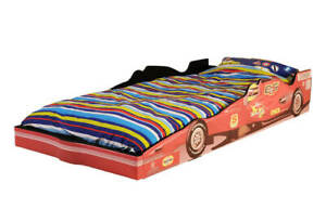 Boys Kids Childrens Racing Car Bed Soft Faux Leather with Mattress Option