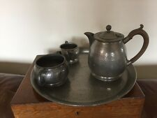4 Piece Pewter Tea Service. Teapot, Sugar & Milk & Tray