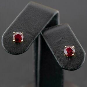 (Wi1) 18ct Gold Ruby Stud Earrings 1.3gms