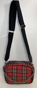 Red Tartan Plaid Messenger Bag Crossbody Strap & Silver Chain Handbag Purse