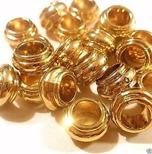 Lot of 20 EUROPEAN CHARM REAL GOLD PLATED Metal Beads N82 Ships from USA