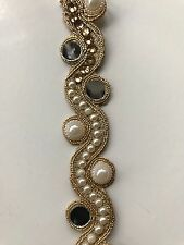 ATTRACTIVE INDIAN GOLD WAVY MIRRORS PEARLS CRYSTALS TRIM/LACE-Sold by METRE
